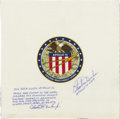 Explorers:Space Exploration, Apollo 16 Command Module Flown Beta Cloth Crew Patch Signed byCharles Duke....