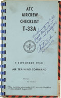 Explorers:Space Exploration, Charles Duke Signed ATC Aircrew Checklist T-33A....