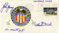 Explorers:Space Exploration, Apollo 16 Insurance Cover Signed by John Young, Charles Duke, and Ken Mattingly....