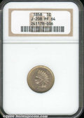 1858 Indian Cent, Judd-208, Pollock-253, R.4, PR 64 NGC. Indian head cent as adopted in 1859, struck in copper-nickel wi...