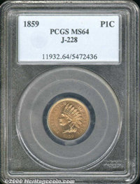 1859 Indian Cent, Judd-228, Pollock-272, R.1, MS 64 PCGS. Indian cent with the obverse of 1859 paired with the reverse o...