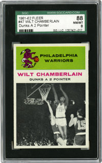 1961-62 Fleer Wilt Chamberlain In Action #47 SGC NM-MT 88. At a time when above-the-rim play was much more of an anomaly...