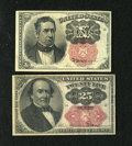 Fractional Currency:Fifth Issue, Fr. 1265 10c Fifth Issue XF-About New. Fr. 1309 25c Fifth Issue VF.. The Fr. 1309 has an approximate half inch top edge ... (Total: 2 notes)