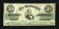 Confederate Notes:1863 Issues, T57 $50 1863. This solid edge example with nice color gradesFine-Very Fine with cut cancels....