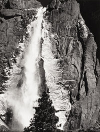 ANSEL ADAMS (American 1902-1984) Upper Yosemite Falls, Spring Vintage photograph 9-5/8 x 7-3/8 inches (24.4 x 18.7 cm