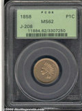 Binder Lots--Three Cent Pieces: , 1858 Indian Cent, Judd-208, Pollock-259, R.4, MS 62 PCGS. R...