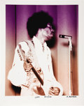 "Music Memorabilia:Photos, Jimi Hendrix Photo by Michael Maltese. A color 20"" x 16"" photo ofthe legendary guitarist onstage, dated August 17, 1968, by...(Total: 1 Item)"