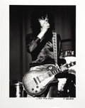 """Music Memorabilia:Photos, Jimmy Page Photo by Michael Maltese. A b&w 20"""" x 16"""" photo ofPage onstage, dated April 5, 1970, by photographer Michael Mal...(Total: 1 Item)"""
