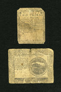 Colonial Notes:Continental Congress Issues, Continental Currency November 29, 1775 $4 Fine. ContinentalCurrency February 17, 1776 $2/3 VG-Fine.. ... (Total: 2 notes)