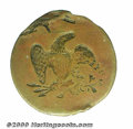 """Undated """"Quarter Dollar"""" Reverse Hub Trial, Judd-Appendix A, Pollock-8040, R.8. The obverse features an eagle..."""
