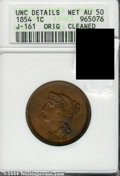 Binder Lots--Three Cent Pieces: , 1854 Large Cent, Judd-161 Original, Pollock-187, R.5--Cleaned--...