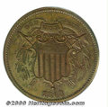 Binder Lots--Three Cent Pieces: , 1863 Two Cents, Judd-312, P-377, R.6-7, PR 63 Red and Brown P...