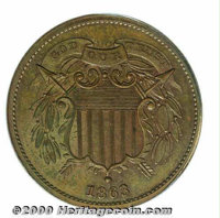 1863 Two Cents, Judd-312, P-377, R.6-7, PR 63 Red and Brown PCGS. Similar to the adopted design for the two cent piece b...