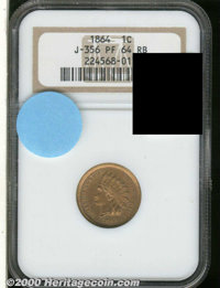 1864 Indian Cent, Judd-356, Pollock-426, R.6?, PR 64 Red and Brown NGC. One of a small group of experimental pieces prod...