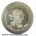 1870 Ten Cents, Judd-843, Pollock-942, R.5-6, PR 65 NGC. The obverse has a head of Liberty with diadem in her hair and a...
