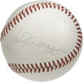 Autographs:Baseballs, Joe DiMaggio Single Signed Baseball. The Yankee Clipper capturedthe hearts of many a New York Yankee fan with his elegant ...
