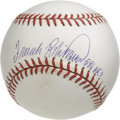 "Autographs:Baseballs, Frank Robinson ""586 HRs"" Single Signed Baseball. There was scarcelya pitcher that looked forward to seeing the imposing sl..."