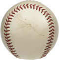 Autographs:Baseballs, Dizzy Dean Single Signed Baseball. Wholly attractive single fromthe Diz appears on a marvelous creamy ONL (Frick) orb, the...