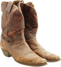 Movie/TV Memorabilia:Costumes, Buddy Ebsen's Boots, Worn in Two Western Films, with Signed Note. Aworn but still impressive pair of cowboy boots, accompan... (Total:1 Item)