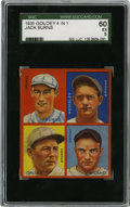 Baseball Cards:Singles (1930-1939), 1935 Goudey 4-in-1 Burns/Grube/Hemsley/Weiland SGC EX 60. Colorfulcard from the Goudey 4-in-1 issue released in 1935 featu...