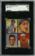 Baseball Cards:Singles (1930-1939), 1935 Goudey 4-in-1 Bartell/Critz/Mancuso/Ott SGC EX 60. Qualityimage retention and fair centering keep this entry from 193...
