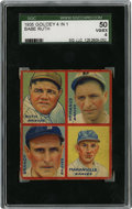 Baseball Cards:Singles (1930-1939), 1935 Goudey 4-in-1 Brandt/Maranville/McManus/Ruth SGC VG-EX 50.Beautiful VG-EX entry from the Goudey 4-in-1 issue released ...