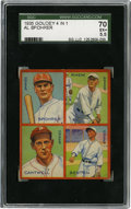 Baseball Cards:Singles (1930-1939), 1935 Goudey 4-in-1 Benton/Cantwell/Rhem/Spohrer SGC EX+ 70. Impressive image area and centering allow this entry from Goude...