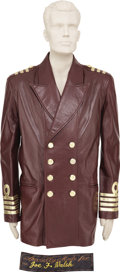Music Memorabilia:Costumes, Joe Walsh Leather Costume Jacket. A burgundy leather costume jacket with gold accents, worn by Walsh for an unspecified perf... (Total: 1 Item)