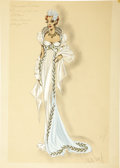 Movie/TV Memorabilia:Original Art, Susanna Foster Phantom of the Opera Costume Sketch by VeraWest, Signed by West and Director Arthur Lubin. Unive... (Total: 1Item)