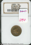 Binder Lots--Three Cent Pieces: , 1858 Flying Eagle Cent, Judd-204, R.5, PR 63 NGC. Flying Ea...