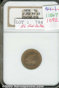 Binder Lots--Three Cent Pieces: , 1858 Flying Eagle Cent, Judd-202, Pollock-245, R.5, PR 65 NGC...