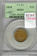 Binder Lots--Three Cent Pieces: , 1859 Indian Cent, Judd-227, Pollock-271, R.6, MS 64 PCGS. P...