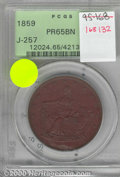 Binder Lots--Three Cent Pieces: , 1859 Double Eagle, Judd-257, Pollock-305, R.6, PR 65 Brown PC...