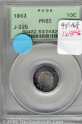 Binder Lots--Three Cent Pieces: , 1863 Ten Cents, Judd-325, Pollock-390, R.6, PR 63 PCGS. An ...