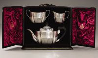 English Victorian Silver Royal Presentation Bachelor's Tea-Service Marked Birmingham, with date letters N for 1862 (on c...