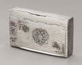 Silver Smalls:Cigarette Cases, Imperial Russian Silver Souvenir Cigarette Case. Marked IvanSaltykov, Moscow, 1885, assaymaster Victor Savinkov, 84. ...