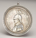 Decorative Arts, Continental:Other , Imperial Russian Emperor Nicholas I Commemorative Silver TableMedal. Stamped Moscow, 1908-17. The bust of the Tsar fa...