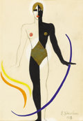 Fine Art - Painting, Russian, VALENTINA MIKHAILOVNA KHODASEVICH (Russian, 1894-1970). Figurein Black, White and Gold, 1928 (costume design). Mixed me...
