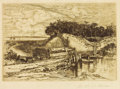 Prints:American, MARY NIMMO MORAN (American, 1842-1899). The Old Wood Bridge,1881 . Etching. 8 x 11-1/2 inches (20.3 x 29.2 cm). Signed ...