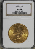 Liberty Double Eagles: , 1898-S $20 MS64 NGC. NGC Census: (896/99). PCGS Population(1079/74). Mintage: 2,575,175. Numismedia Wsl. Price for NGC/PCG...