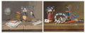 Fine Art - Painting, European:Antique  (Pre 1900), PROPERTY OF MRS. RUTH CARTER STEVENSON. . PAUL LELONG (French,1799-1846). A Pair of Still Lifes. Tempera and gouache on...(Total: 2 Items)
