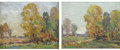 Fine Art - Painting, American:Modern  (1900 1949)  , THOMAS JOHN MITCHELL (American, 1875-1940). AutumnalLandscapes (pair). Oil on board. 8 x 10 inches (20.3 x 25.4cm)... (Total: 2 Items)