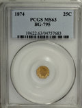 California Fractional Gold: , 1874 25C Indian Octagonal 25 Cents, BG-795, R.3, MS63 PCGS. PCGSPopulation (42/81). NGC Census: (2/14). (#10622)...
