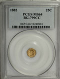 California Fractional Gold: , 1882 25C Indian Octagonal 25 Cents, BG-799CC, R.6 MS64 PCGS. PCGSPopulation (4/0). (#10655)...