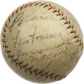 Autographs:Baseballs, 1920s-40s Baseball Stars Multi-Signed Baseball. Vintage Princeton League orb dating from the 1930s or 1940s includes 19 fou...