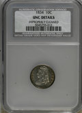 Bust Dimes: , 1834 10C Small 4--Improperly Cleaned--NCS. UNC Details. NGC Census:(1/148). PCGS Population (4/76). Mintage: 635,000. Numi...