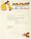 Movie/TV Memorabilia:Autographs and Signed Items, Walt Disney Signed Letter on Snow White and the Seven DwarfsStationery. A marvelous Walt Disney signature, in a... (Total: 1Item)