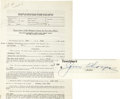 Movie/TV Memorabilia:Autographs and Signed Items, Jim Thorpe Signed The Man From Texas Contract. A Screen Actors Guild freelance contract dated June 12, 1939, eng... (Total: 1 Item)