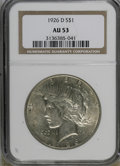 Peace Dollars: , 1926-D $1 AU53 NGC. NGC Census: (31/2514). PCGS Population(13/4150). Mintage: 2,348,700. Numismedia Wsl. Price for NGC/PCG...