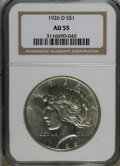 Peace Dollars: , 1926-D $1 AU55 NGC. NGC Census: (74/2444). PCGS Population(105/4052). Mintage: 2,348,700. Numismedia Wsl. Price for NGC/PC...